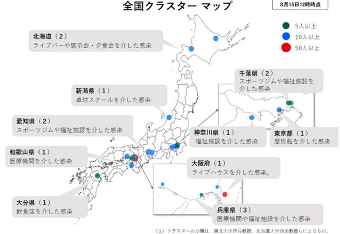 0316zenkoku krastermap - コロナ全国分布3月16日最新!感染クラスター15箇所!お隣K国は